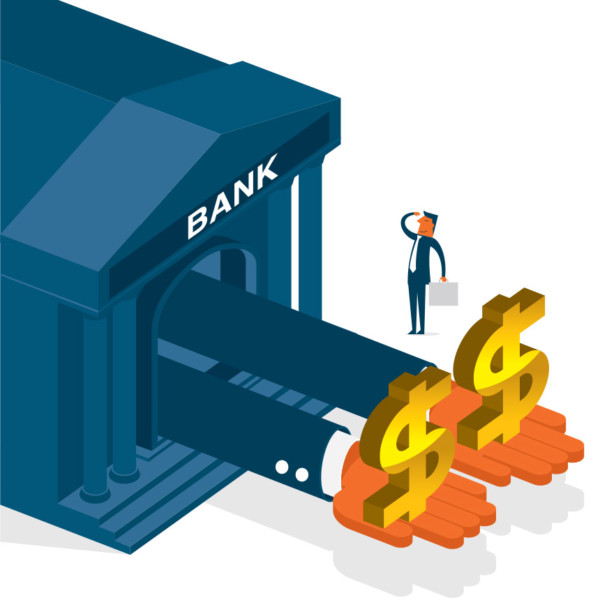 Image of two hands coming out from a bank holding dollar signs.