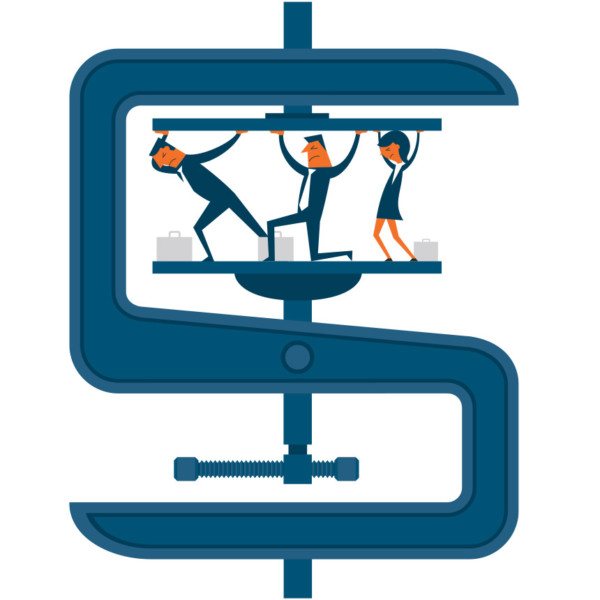 Image of three people in between a giant clamp