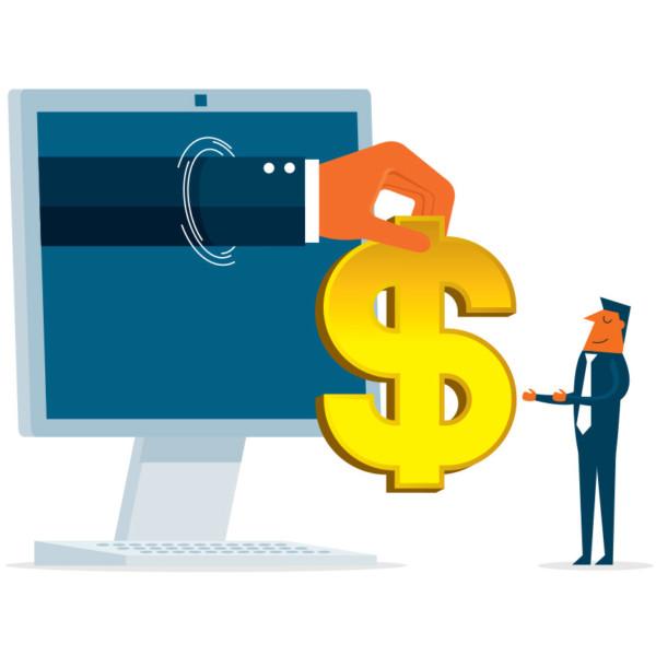 Image of a hand coming out from a computer screen holding a dollar sign.
