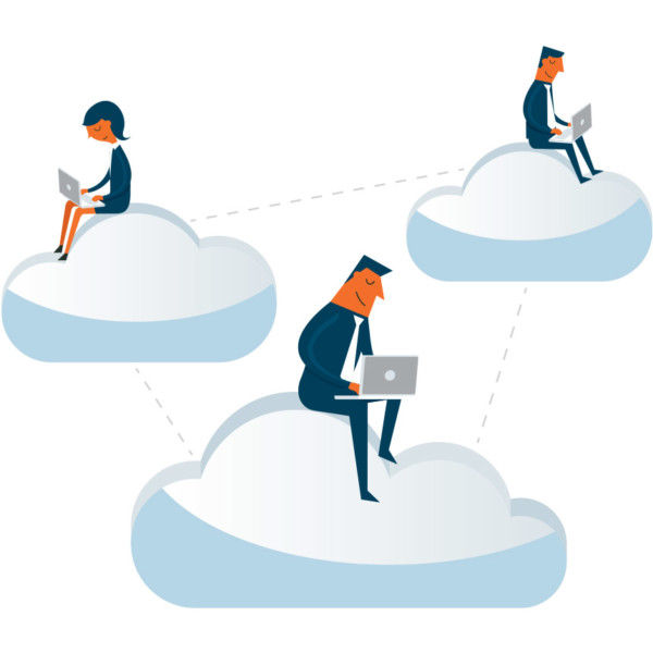 Animated image of people sitting on clouds working on their laptops.