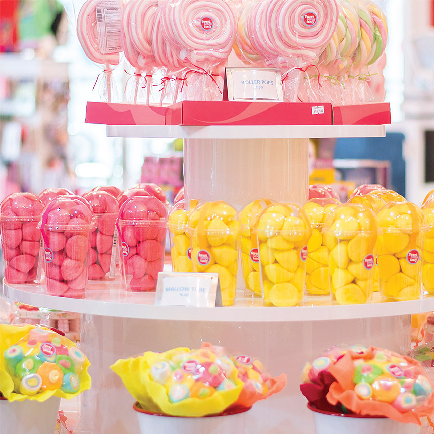Image of a display with several different candies on display.