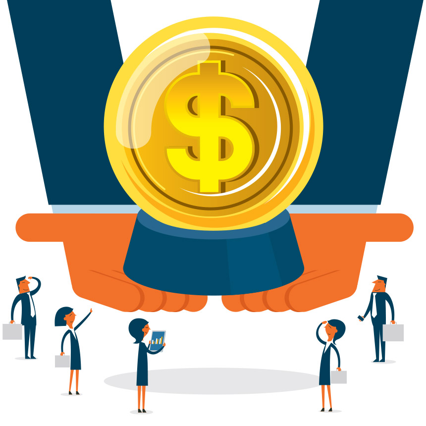 Animated image of a large pair of hands holding a large dollar sign coin.