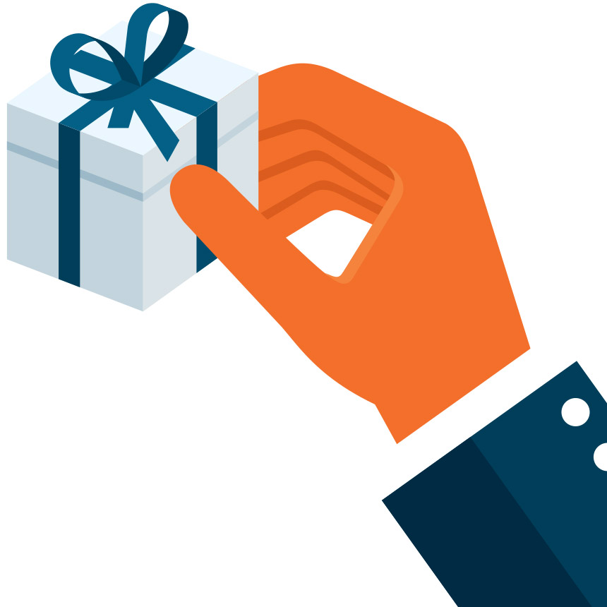 Image of a hand holding a gift