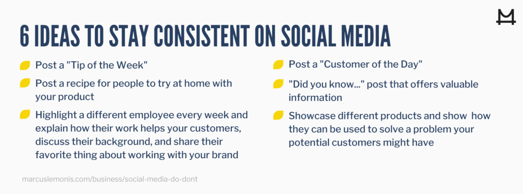 Six ideas to stay consistent on social media