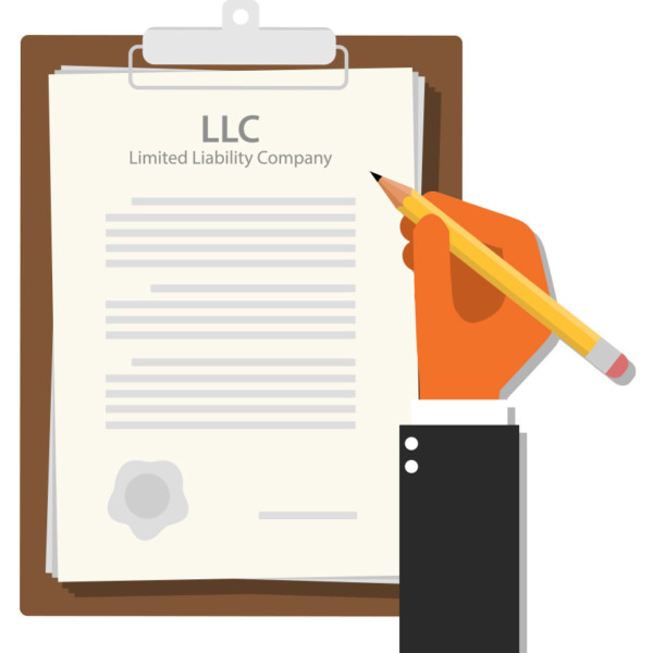 Animated image of an oversized clipboard with an LLC document.