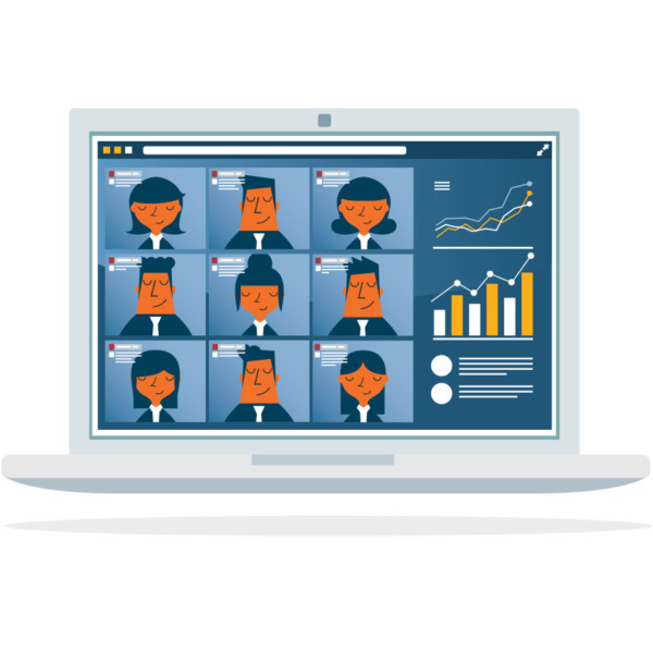 Animated image of a laptop with a virtual meeting on screen