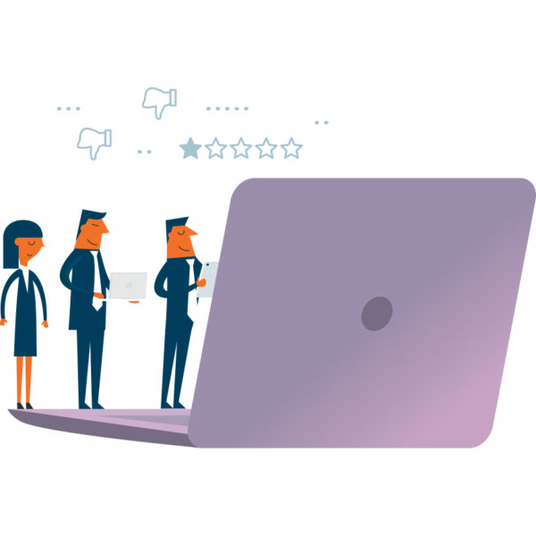 Animated image of three people looking at an oversized laptop.