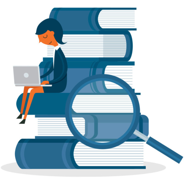 Animated image of someone sitting on a pile of books with a magnifying glass examining the books.