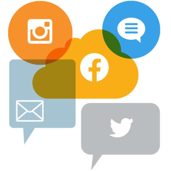 Image of various floating messaging icons.