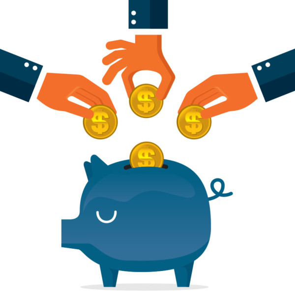 Image of three hands adding coins to a piggy bank.
