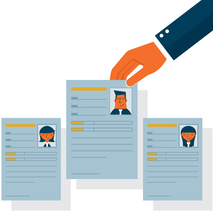 Image of 3 different resumes laid out, with one being picked up.
