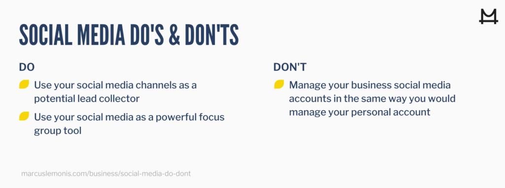 Three do's and don'ts for social media.