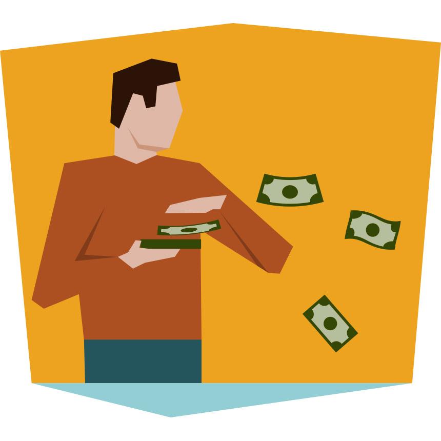 Animating image of someone throwing money
