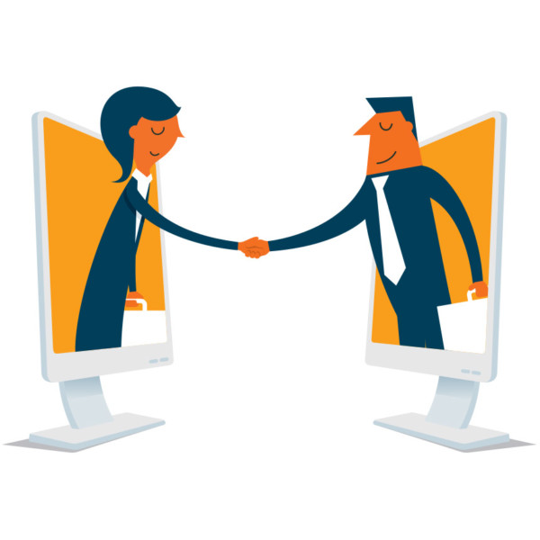 Animated image of two people shaking hands through computers.
