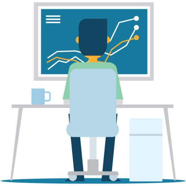 Animated image of someone working on a desktop computer.