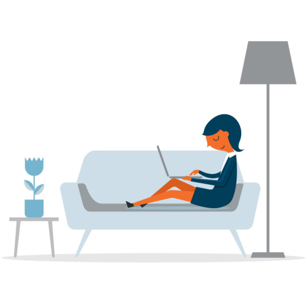Animated image of someone working on their laptop while sitting on a couch.