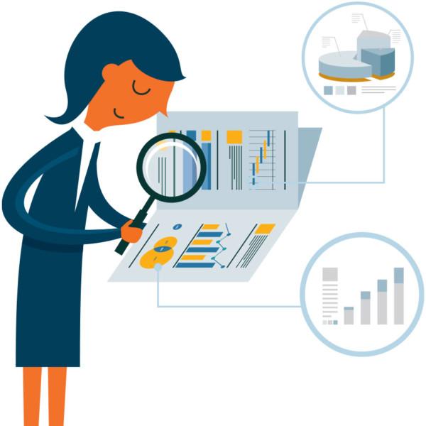 Women analyzing competitor data