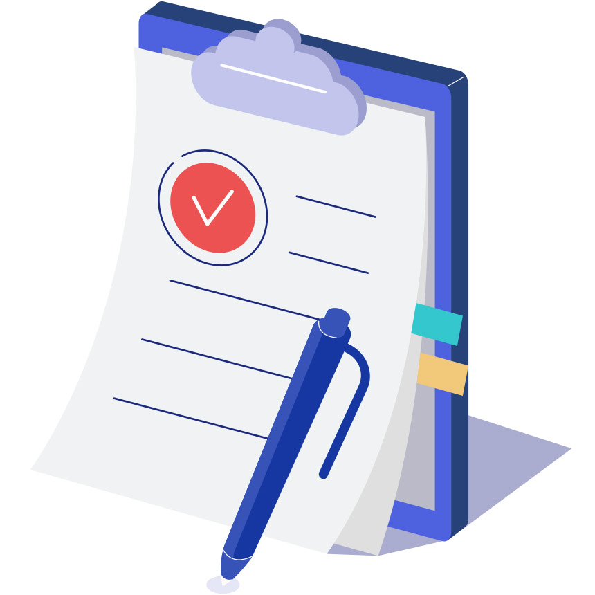 Animated image of a person examining a big contract