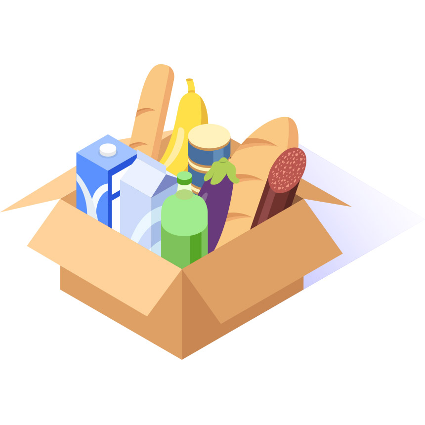 Animated image of a Box of Groceries