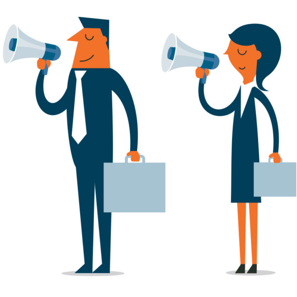 Business leaders using megaphones to connect with people