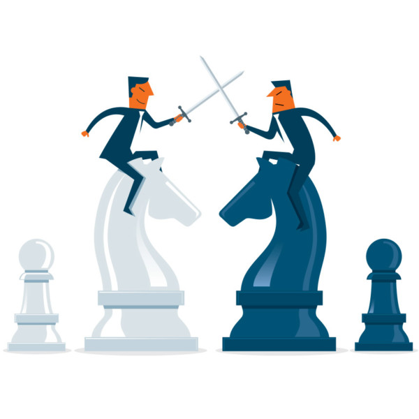 Business people playing chess to make decisions