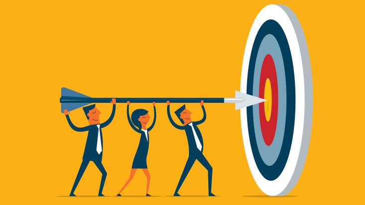 Business team on target for marketing to the average consumer