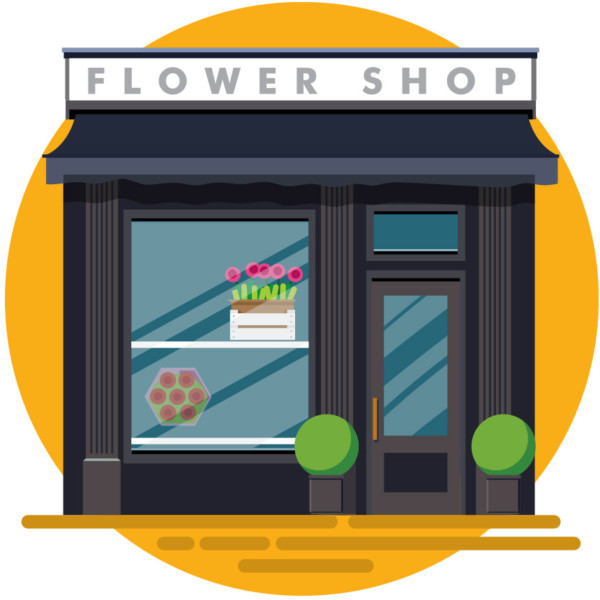 Clean and inviting flower shop storefront
