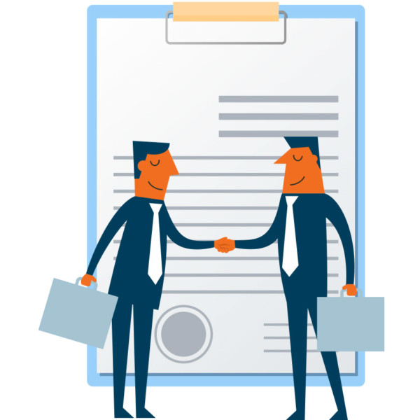 Animated image of 2 people shaking hands in front of a clipboard