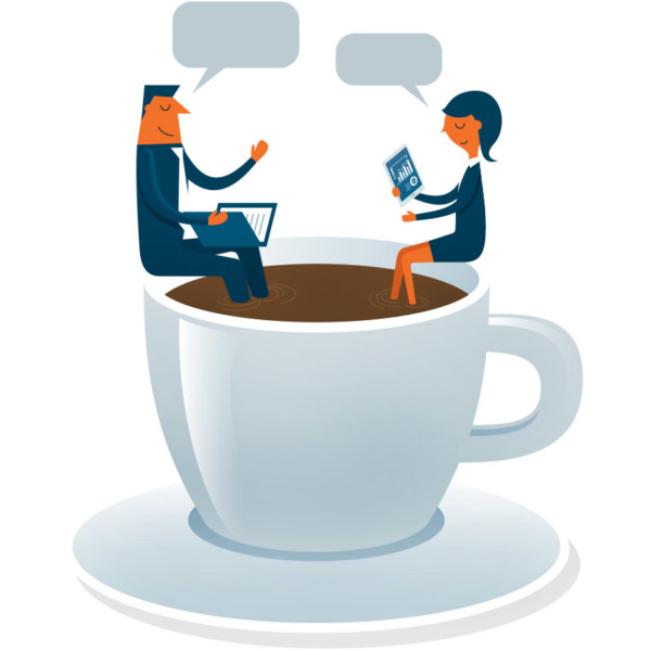 Image of two people having a conversation, while sitting in a giant cup of coffee.