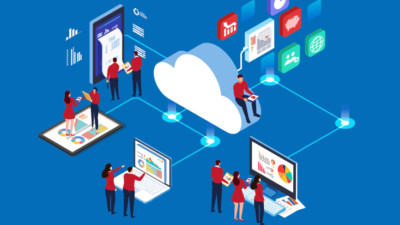 Animated image of multiple people and devices connected to the cloud