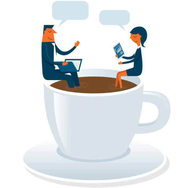 Image of two people conversing while sitting in an oversized cup of coffee.
