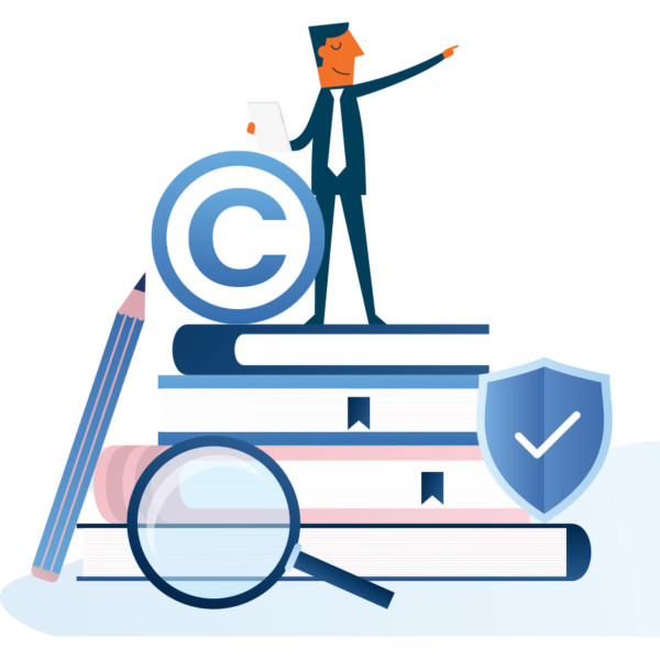 Animated image of someone on top of a pile of books, holding a copyright symbol