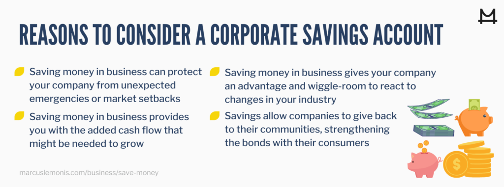 List of reasons to consider a corporate savings account.