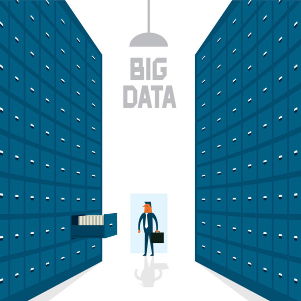 "Image of large filing cabinets with the words ""Big Data"" at the center of the image."