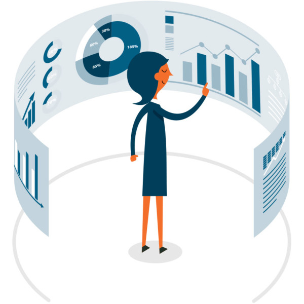 Image of someone looking at a circular wall of data.