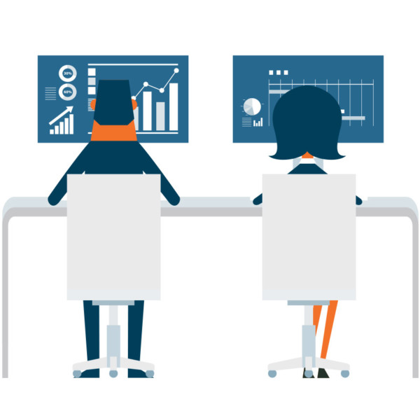 Animated image of a two people working on desktop computers