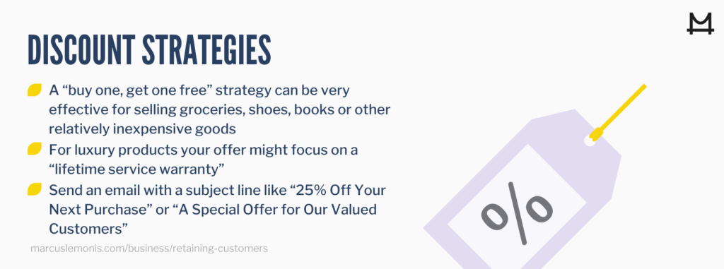 Different types of discount strategies to retain customers