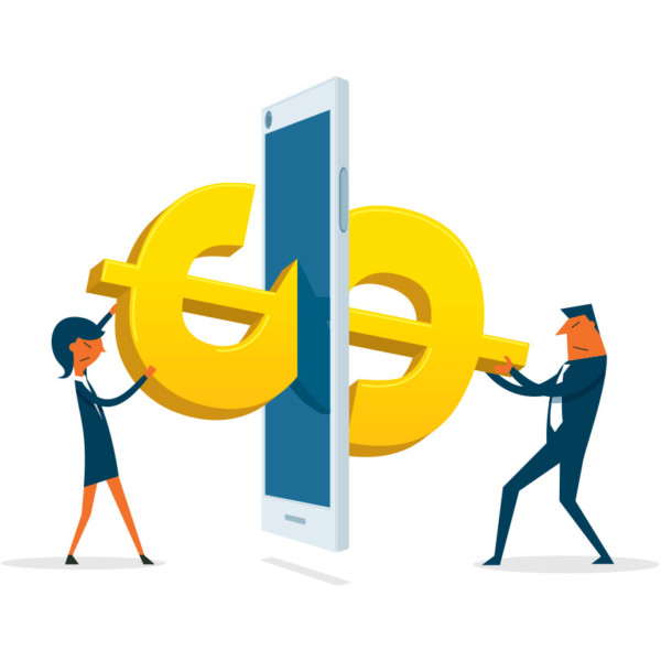 Image of two people holding a dollar sign that is in between a phone.