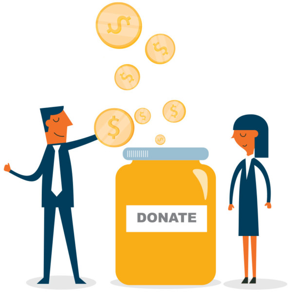 Image of coins being put into a donations jar.