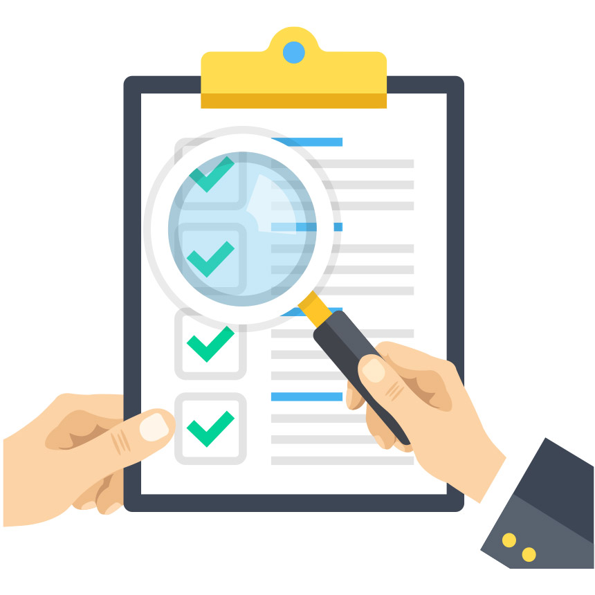 Animated image of a magnifying glass examining a checklist