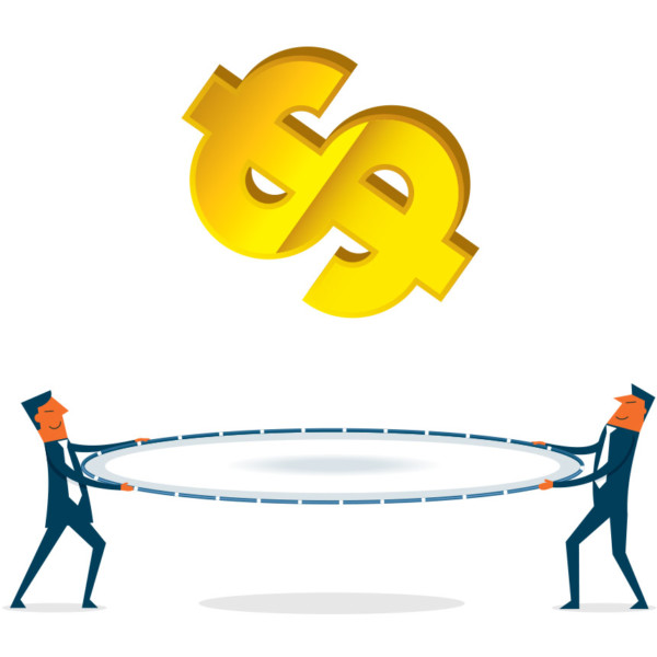 Image of a dollar sign falling and two people trying to catch it.