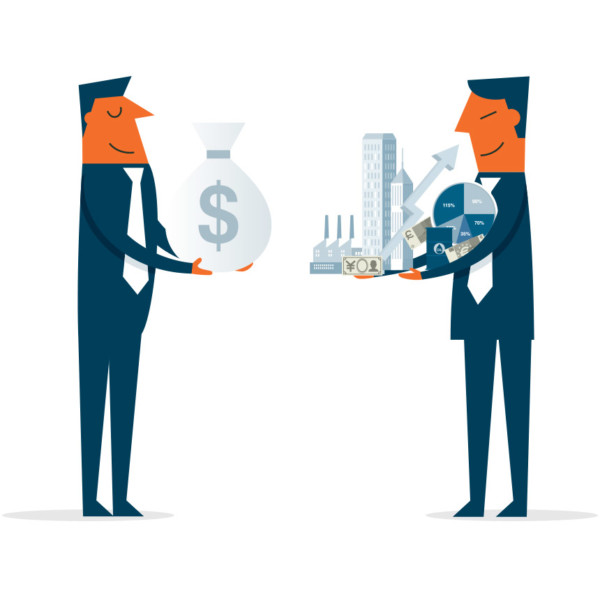 Image of two people exchange money and assets.