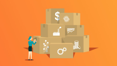 Employee checking assets in a bunch of boxes smaller