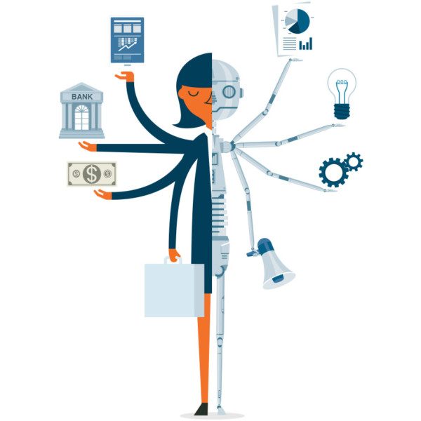Image of someone who is half machine with various currency and business symbols around them.