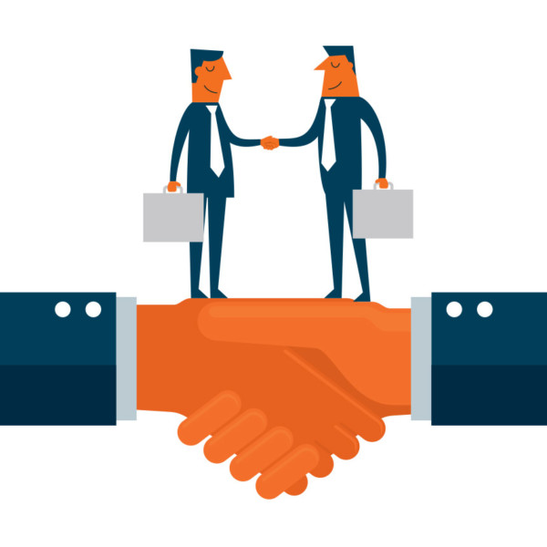 Image of two hands shaking and two people shaking hands on those hands.