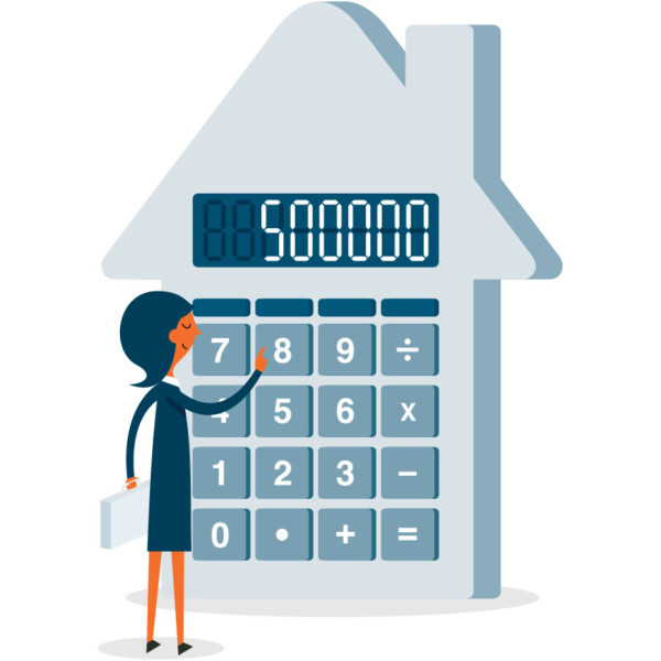 Image of someone inputting numbers in a calculator shaped like a house.