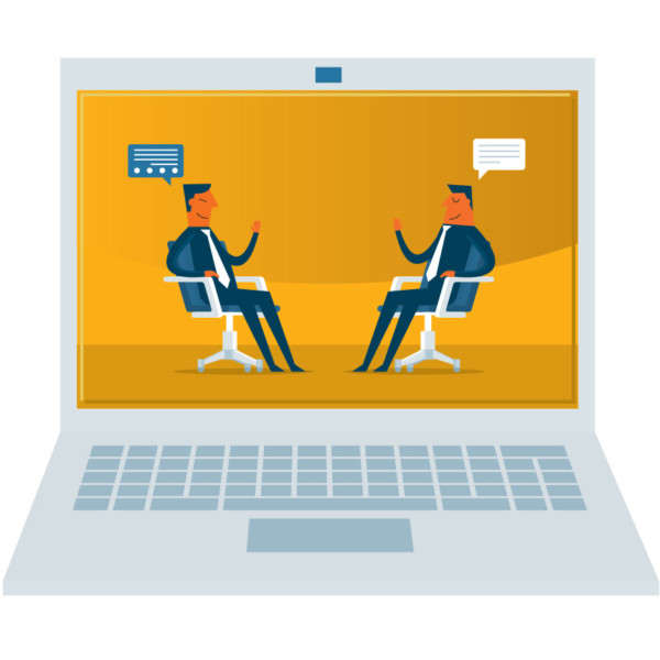 Image of two people sitting down having a conversation, being shown on a laptop.