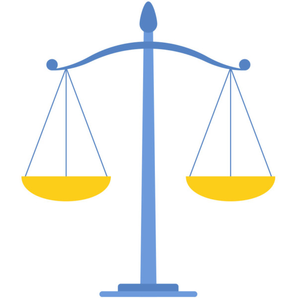Animated image of people of a law scale and a gavel.