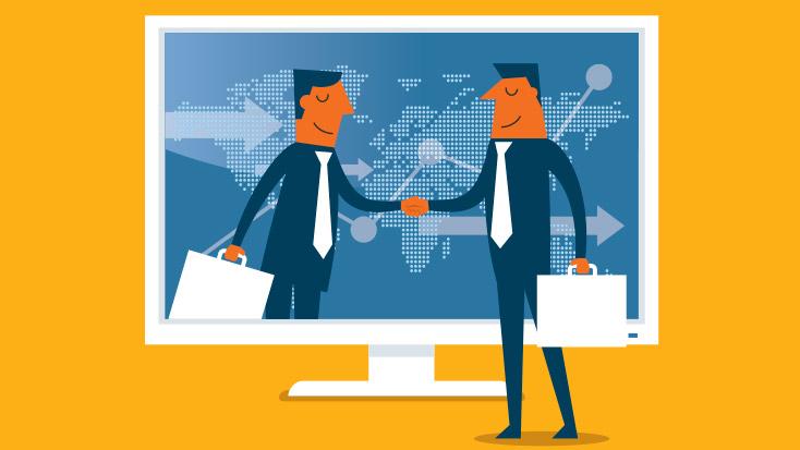 Two men making a virtual agreement over desktop