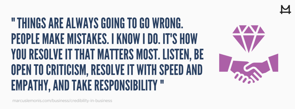Quote from Marcus about how to handle mistakes.